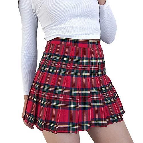 HAHAQZ Rock, rotes Schottenkaro, Damenrock, sexy, kariert, Plissee-Röcke, modisch, Mini-Tanzrock, seitliche Knöpfe, hohe Taille, Schulröcke, Damen, XL