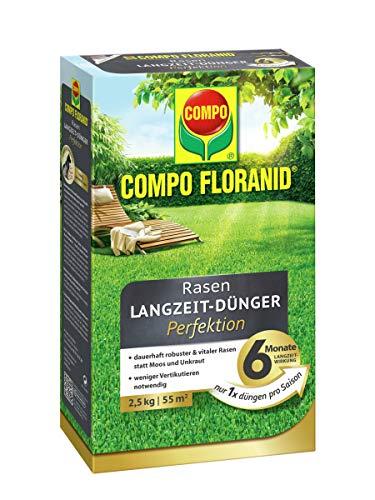 COMPO FLORANID Rasen-Langzeitdünger Perfektion, 6 Monate Langzeitwirkung, Feingranulat, 2,5 kg, 55 m²