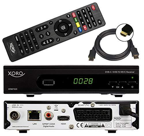 netshop 25 Xoro HRM 7620 Full HD Kombi Receiver DVB-T/T2/C Kabel und DVB-T2 (HEVC, HDTV, HDMI, SCART, Mediaplayer, USB 2.0, LAN, PVR Ready = USB TV Aufnahme) + 1,5m HDMI Kabel