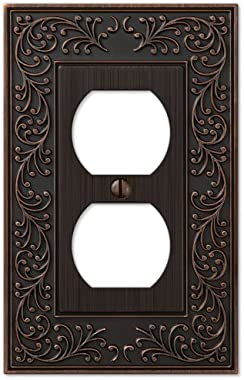 Amerelle 43DVB English Garden Cast Metal Steel Wallplate, 1 Duplex Outlet, Aged Bronze