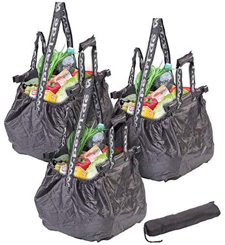 PEARL Einkaufstasche: 3er-Set Einkaufswagen-Taschen, Befestigungs-Clips & Schultergurt, 20 l (Einkauftasche)