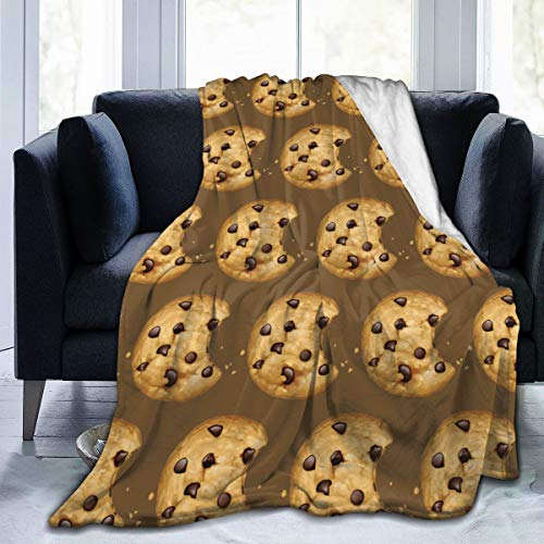321DESIGN Flannel Fleece Bed Blanket Chocolate Chip Cookie Biscuits Cookies Throw for Couch, Sofa, Travel, Lap - Warm and Cozy - Small 40x50 in