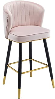 JHBW-bar stool Modern Minimalist Comfortable Sofa Chair, Iron Frame, Dutch Flannel Seat, Height 65/55cm (26/22in), Suitable for Bars, Cafes, Home (440BLS)