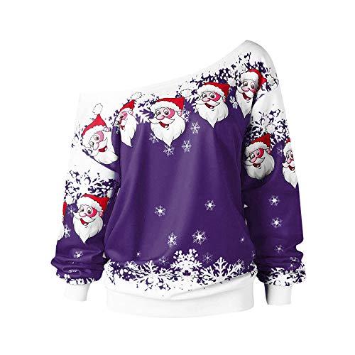 TWIFER Schulterfrei Weihnachten Pullover Weihnachtsmann Skew Kragen Sweatshirt Bluse (S/EU 36, Lila)