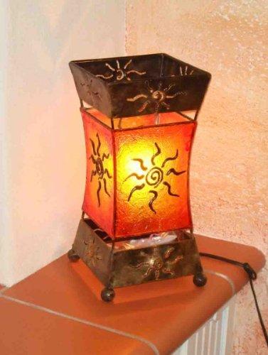 Deko-Leuchte XENIA, Tischlampe aus Metall und Resin, Stimmungsleuchte, ca. 30 cm hoch, Sonnenmotiv