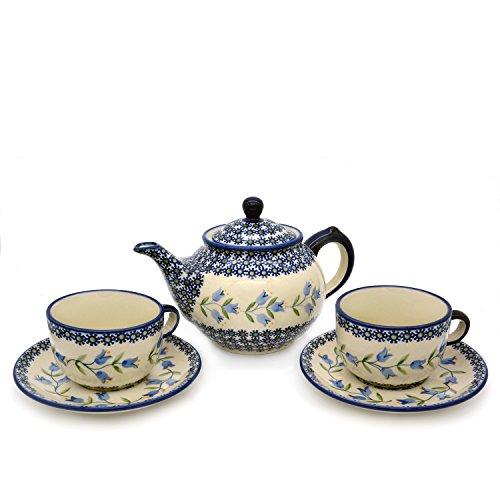 Original Bunzlauer Teeservice aus Teekanne 800 ml und 2 Tassen 200 ml mit Untertassen, Dekor Agnes