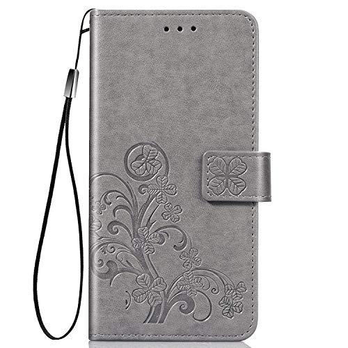 Hülle für LG K41S / K51S Lederhülle Flip Tasche Klappbar Handyhülle mit [Kartenfächer] [Ständer Funktion], Cover Schutzhülle für LG K51S / K41S - JESD070208 Grau