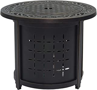 """Stanbroil 30"""" Round Cast Aluminum Outdoor Propane Gas Fire Pit Table with Round Burner Ring, Bronze"""