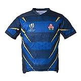 Camiseta de Rugby de Japón, Hombres Adultos, Camiseta de fútbol Americano con Cuello en V, Manga Corta, Entrenamiento Casual, Transpirable, se Puede Usar para Regalos de cumpleaños-Blue-S(170~175)