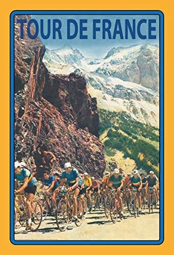 FS Tour de France fiets door bergen metalen bord gebogen metalen plaat 20 x 30 cm