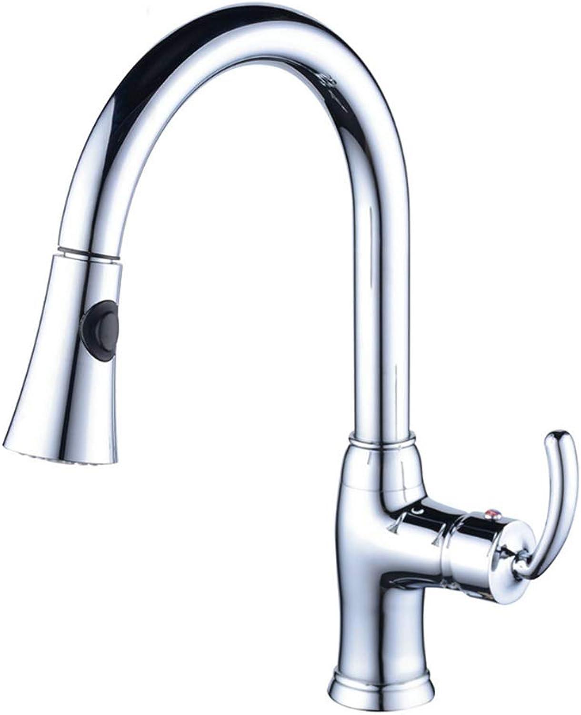 FKSTTS Spülbecken Wasserhahn Sprudler mit Pulldown-Sprühmischer Mixer hei und kalt gemischt Messing überzogen Waschbecken Wasserhahn