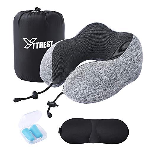 KINGYAO Nackenkissen Flugzeug, Reise Nackenkissen Memory Foam mit Schlafmaske, Ohrenstöpsel und Tasche, Grau
