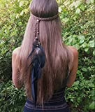 Boho Feather Headband Hippie Jewelry Gifts Native American Indian Costume Festival Hair Accessories Bohemian Gypsy Clothing Dresses for Women & Girls(Black)
