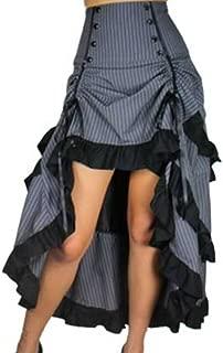 CSDttT (XS-28 Burlesque Blaze - Gray w White Pinstripes Gathered Steampunk Gothic Skirt