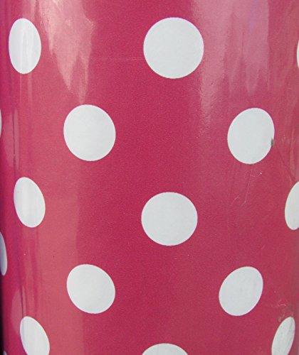 Cerise Dot PVC vinyle Nappe en PVC facile à nettoyer Pois terrasse en toile cirée 140 cm de large et 1 metre de longueur Nappe