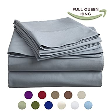 High Strength Natural Bamboo Fiber Yarns Egyptian Comfort 1800 Thread Count 4 Piece QUEEN Size Sheet Set, Light Gray