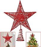 Lodou, decorazione a forma di stella a 5 punte per albero di Natale, 20 cm, dorata con glitter, ideale anche come decorazione per casa, feste, festival Rosso