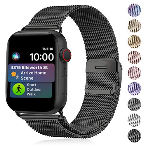 Funbiz Metal Strap Compatible with Apple Watch 38mm 40mm 42mm 44mm, Flexible Breathable Stainless Steel Mesh Bracelet Smartwatch Replacement Band for iWatch Series 5 4 3 2 1, 42mm/44mm-Black