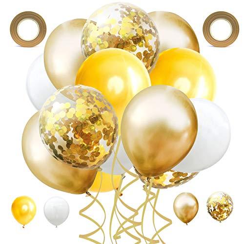 60 Stück Latex Ballon,12 Zoll Luftballon Set,Konfetti Luftballons,mit 2 Band.für Junggesellinnenabschiede, Hochzeiten, Babypartys und Geburtstagsfeiern (Golden)