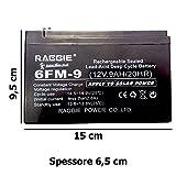 DOBO® Batteria ermetica al piombo manutenzione 12V 9Ah di tipo non spillable senza manutenzione, attacchi faston - 150 X 66 X 95mm