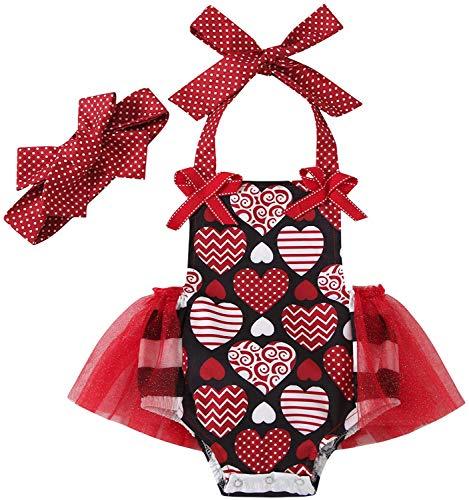 Carolilly Conjunto de 2 piezas de bebé con estampado de corazón rojo + diadema para el pelo de bebé sin mangas tutú vestido Valentine's Day Body niña 0 – 24 meses Rosso C 3-6 Meses