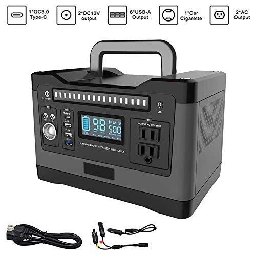 Générateur solaire portatif 500W, batterie de secours au lithium UPS de secours 1000w avec alimentation de secours, prise de courant alternatif, 3 ports USB pour une urgence de camping en plein air