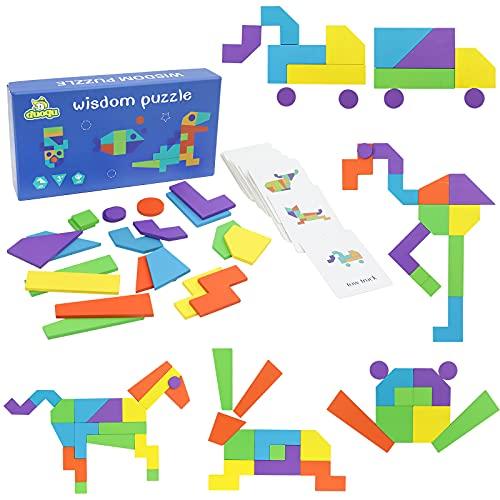 Juguetes Montessori Tangram Puzzles Madera Infantiles Rompecabezas Pattern Blocks Tetris Las Figuras Geometricas Juegos Bloques de Madera Logica Educativos Regalo para Niños Niña 3 4 5 6 Años