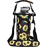 Watruer 40 oz Hydro Carrier, Neoprene Water Bottle Sleeve Holder with Shoulder Strap, Pouch, Pocket & Carrying Handle Fits Hydro Flask, Yeti, Growlers, Similar Thermos Bottles - Chrysanthemum
