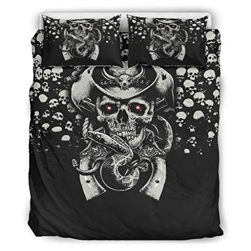 Toomjie Cowboy Schädel Tagesdecken weich & bunt Bettwäsche-Set 1 Bettbezug&2 Kissenbezüge lichtbeständig White 229x229cm