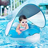 Yobeway Inflatable Baby Float with Canopy for Sun Protection, Safe Anti-Slip Bottom Support, Whale Tail Baby Swim Float Accessories with Air Pump & 2 Bath Pool Toys for 6-36M.