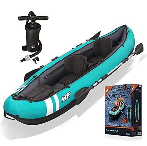 Exterior Kayac Juego de Kayaks Inflables para 2 Personas Bote Inflable Ligero para Canoa con Remos y Bomba de Aire de Alto Rendimiento 330 * 94 CM
