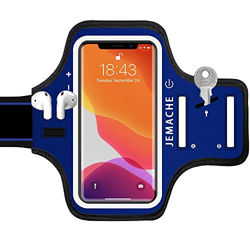 iPhone 13, 12, 11, XR Armband with AirPods Holder, JEMACHE Water Resistant Gym Running Workouts Arm Band Case for iPhone XR, 11, 12, 12 Pro,...