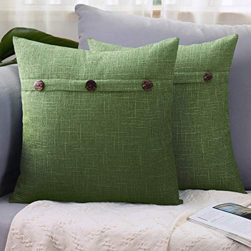 LHKIS Throw Pillow Covers 18x18 Set of 2 Decrative for Couch Sofa, with Triple Button Vintage Farmhouse, Green