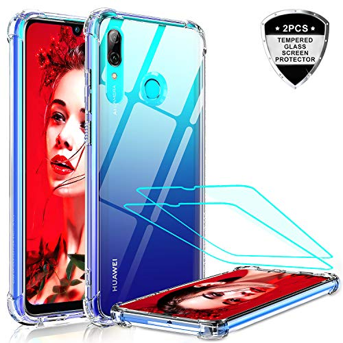 LeYi Funda Huawei P Smart 2019 / Honor 10 Lite con 2-Unidades Cristal Vidrio Templado, Cristal Transparente Shockproof Carcasa Silicona PC y TPU Slim Gel Bumper Cover Case para Movil P Smart, Clear