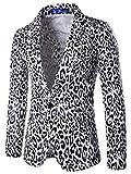 ebossy Men's Stylish Metallic Leopard Print One Button Vent Slim Blazer Suit Jacket (Small, White)