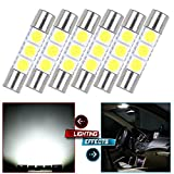 cciyu 6x White LED 28mm-31mm 5050 3SMD Fuse Vanity Mirror Light Bulb Replacement fit for 3056 3057 TS-14V1CP 6000k 28mm 29mm 30mm 31mm/ Replacement fit for Car Interior Sun Visor Vanity Mirror Light