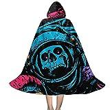 Capa larga con capucha unisex para niños, para astronautas, pulpo, cráneo, galaxia, disfraz de Halloween para fiestas de disfraces, Negro, M