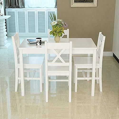 Conjunto de mesa y cuatro sillas de comedor de madera muebles de cocina Conjunto en forma de X para cocinas,D