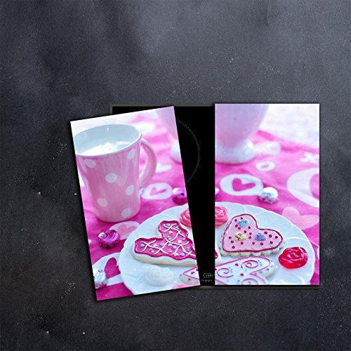 DAMU |Ceranfeldabdeckung 2 Teilig 2x30x52 cm Herdabdeckplatten Küche Elektroherd Induktion Herdschutz Spritzschutz Glasplatte Schneidebrett Pink Kaffee
