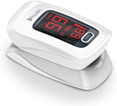 [New Version] iProven Pulse Oximeter Fingertip - Oxygen Saturation Monitor - with Heart Rate Detection - incl. Batteries, Case and Lanyard - iProven OXI-27 White