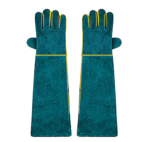 OMEM Tierhandhaber-Handschuhe, Vollleder, bissfest, Reptilien, Leguan, Schlange, Eidechse, kratzfeste Schutzhandschuhe, extra lang, 58,9 cm