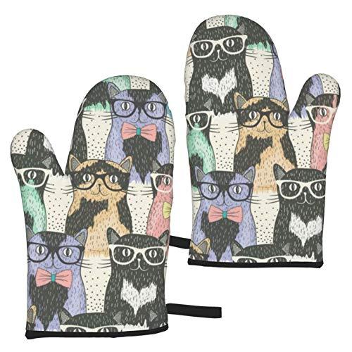 ZGPOJNDKI Gatos Waering Gafas impermeables guantes de horno antideslizantes resistentes al calor, juegos de 2 para cocina, hornear, parrilla, barbacoa, decoración del hogar