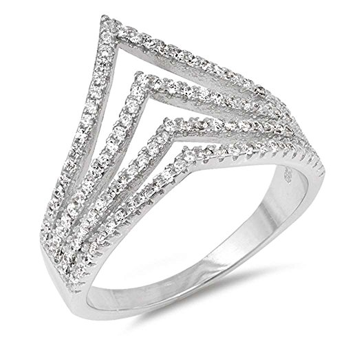 Oxford Diamond Co Sterling Silver Multi Band Cubic Zirconia Chevron V Shape Ring Sizes 7
