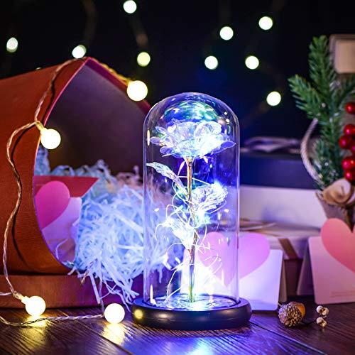 La Bella e la Bestia Rosa Eternity artificiale con luce LED nella campana di vetro e base in legno, decorazione per la casa, regalo per donne, ragazze, compleanni, matrimoni, Natale
