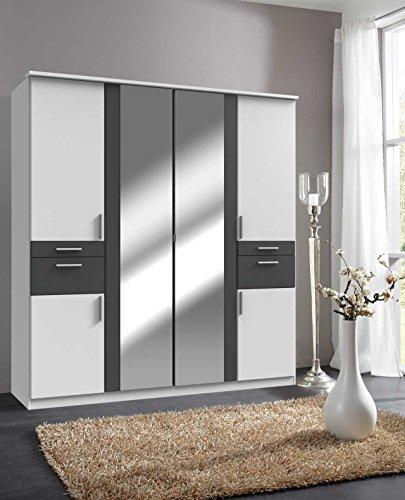 lifestyle4living Kleiderschrank, Weiß, Graphit-Grau, 180 cm   Drehtürenschrank mit 6 Türen, 4 Schubladen, 3 Kleiderstangen, 3 Einlegeböden im modernen Stil