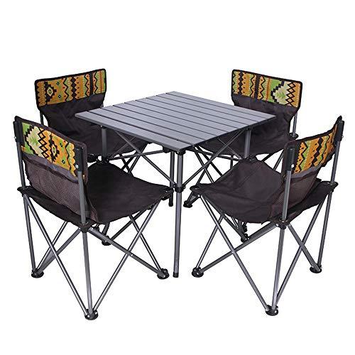 Set da Tavolo e Sedia Pieghevole in Cinque Pezzi da Viaggio all'aperto, 4 sedie da terrazza e 1 Tavolo, per Chat bistrot da Campeggio e Tempo Libero da Giardino, nessun assemblaggio richiesto