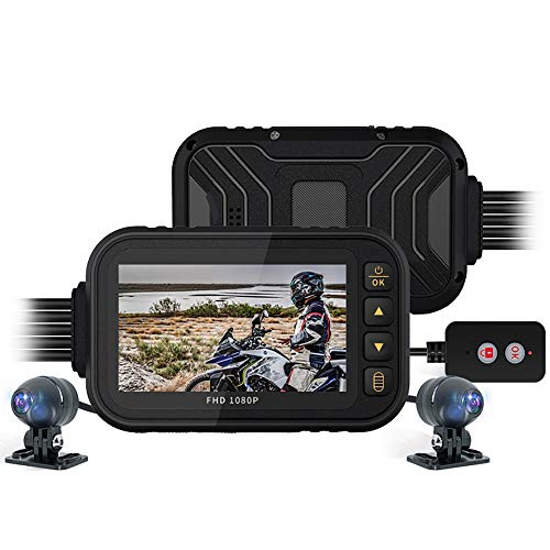 Motorcycle Dash Cam Con Pantalla IPS De 3 '', 1080p + 720p Bicicleta Trasera Trasera Dual De 1080p + Dashcam, G-sensor, Grabación De Bucle, Monitoreo De Estacionamiento, Control Por Cable, Máx. 128 GB