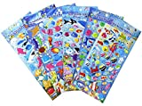 Happy Underwater Sea World Stickers 6 Sheets with Angelfish, Sharks, Starfish, Hippocampus - Foam Ocean World Fish Stickers for Kids Scarpbooking Crafts - 240 Stickers