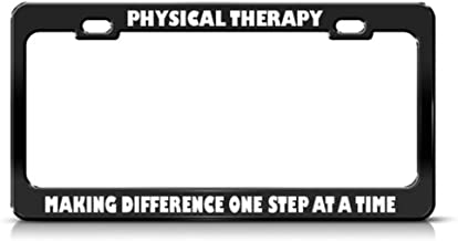 Speedy Pros Metal License Plate Frame Physical Therapy Difference Step Profession Car Accessories Black 2 Holes