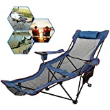 Happybuy Gray Folding Camp Chair with Footrest Mesh Lounge Chair with Cup Holder and Storage Bag Reclining Folding Camp Chair for Camping Fishing and Other Outdoor Activities (Gray)